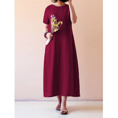 Celmia Women Vintage Short Sleeve Cotton Linen Maxi Dress