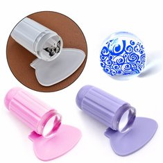 Transparent Clear Silicone Nail Art  Polish Stamper Stamping Printer  Plate Scraper Set