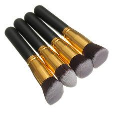 Luckyfine 4pcs Soft Makeup Brushes Set Wooden Handle Blush