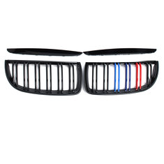 Pair Gloss Black M Color Front Kidney Grille Double Slat For BMW E90 E91 04-07