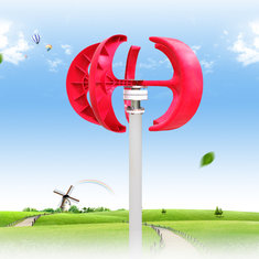 300W Vertical Axis Wind Turbine Generator Red Lantern Type Wind Motorboat Garden