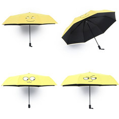 Cute Yellow Emoji Emotion Umbrella Folding Compact Kids Girls Boys Kids Umbrella