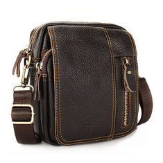 Men Genuine Leather Leisure Business Small Shoulder Crossbody Bag