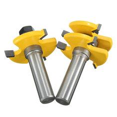2pcs 1/2 Inch Shank Tongue & Groove Router Bit Set 3 Teeth T-shape Wood Milling Cutter