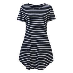 Fashion Women Stripe Short Sleeve T-shirt Dress