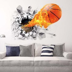 d290927bfb29 Fashion 3D Basketball Wall Sticker Green Poster Art Stickers Kids Rooms  Home Decoration Accessories Decor Removable