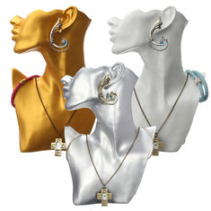 Resin Mannequin Necklace Earrings Jewelry Display Stand Showcase