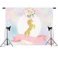Unicorn Ribbon Flowers Baby Shower Party Photo Backgrounds Backdrop Studio Prop