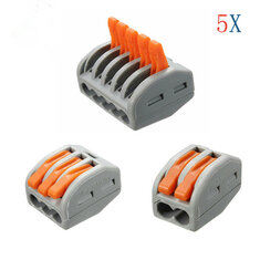 Excellway® ET25 2/3/5 Pins Spring Terminal Block 5Pcs Electric Cable Wire Connector