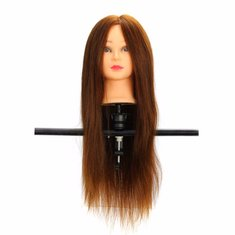 LuckyFine 100% Real Human Hair Mannequin Head Salon Hairdressing Training Model Clamp Holder
