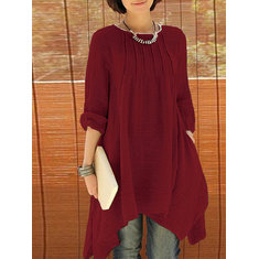 Loose Women Long Sleeve Pure Color Asymmetrical Hem Blouse