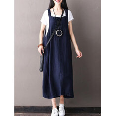 Women Sleeveless Strappy Pure Color Dress