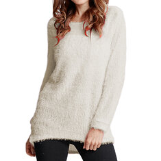 Casual Pure Color Long Sleeve Crew Neck Tops Sweaters