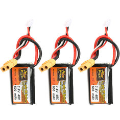 3Pcs ZOP POWER 7.4V 500mAh 45C 2S Lipo Battery With XT60 Plug For RC Model