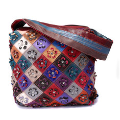 179781 Women Vintage Genuine Leather  Floral Leisure Handbag