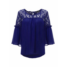 Women Lace Sheer Backless Hollow Out Patchwork 3/4 Sleeve Casual Chiffon Blouse