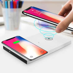 5W QI Wireless Charging Pad Dual Use Desktop Charger for iPhone X 8 Plus