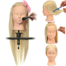 Professional Cosmetology Training Head Model Face Makeup Long Hair Practice + Clamp
