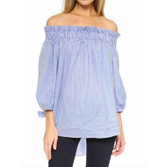 Sexy Women Summer Ruffle Off Shoulder High Low Party Blouse