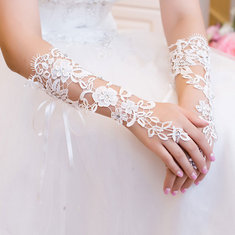Bridal Gloves Rhinestone Lace Flower White Bride Wedding Party Prom Dress Fingerless