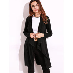 Casual Women Lapel Long Sleeve Solid Color Pockets Cardigan