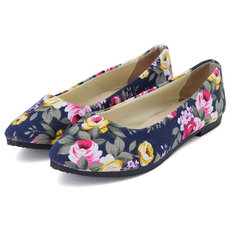 Women Ballet Shoes Ladies Rose Casual Flat Canvas Pointed Toe Shoes Multi-Color Loafers