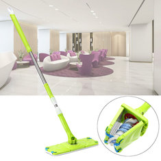 Automatic Squeezed Hands Free Washing Floor Mop Sweeper with 2 Microfiber Cloth Home Cleaning Tools