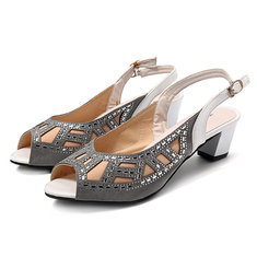 583be4ddc3a5e3 Rhinestone Fish Mouth Casual Square Heel Sandals