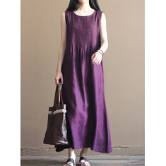 Pure Color Pleated Cotton Dress