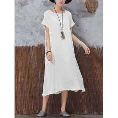 Casual Women Vintage Short Sleeve Pockets Dress
