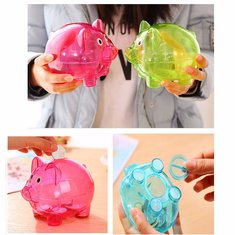 Pig Coin Money Banks Tank Plastic Cash Gift Birthday Cute Piggy Collections