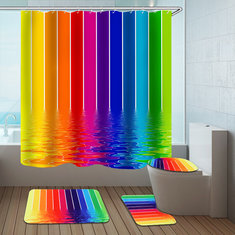 Water Lines Rainbow Polyester Shower Curtain Bathroom Curtain 3D Printing Water-Proof Bathroom Decor