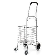 Folding Portable Shopping Basket Cart Trolley Trailer Four Wheels Aluminum Alloy Storage Baskets