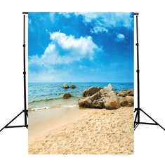 Photography Background Vinyl Fabric Cloth Sky Beach Sand Stones 90x150cm