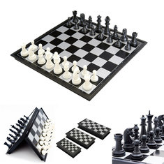 Portable 2 in 1 Magnetic Foldable International Chess/Checkers Board Games Toy