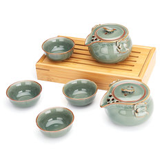 Chinese Longquan Celadon Tea Making Tools Portable Ceramics KungFu Tea Cup Set Drinkware Gift