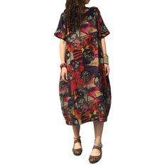 L-5XL خمر النساء الأزهار نمط مطبوعة الجيب اللباس