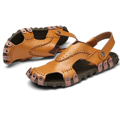 ... Men s Sandals Genuine Leather Soft Sole Casual Toe Breathable Cooler Shoes  Summer Beach Cowhide 2b33bdfec4