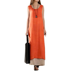 Vintage Women Sleeveless Solid Split Maxi Dress