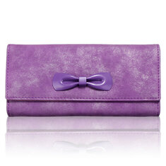 Women Bowknot Long Zipper Wallet Ladies Candy Color Hasp Purse Clutches Card Holder