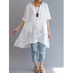 Women Short Sleeve Loose Solid Asymmetric Blouses