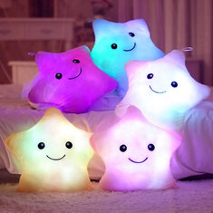 Honana WX-222 Plush Colorful LED Light Star Shape Throw Pillow Home Sofa Party Decor Toys Gift