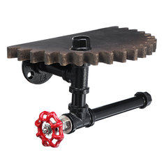 Retro Industrial Iron Pipe Bracket Toilet Paper Holder Roller Wood Gear Mounted Wall Shelf - Retro-Industrial-Iron-Pipe-Bracket-Toilet-Paper-Holder-Roller-Wood-Gear-Mounted-Wall-Shelf , Retro Industrial Iron Pipe Bracket Toilet Paper Holder Roller Wood Gear Mounted Wall Shelf , banggood.com