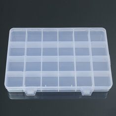 24 Grids Clear Plastic Adjustable Jewelry Storage Container DIY Crafts Organizer Dividers Box