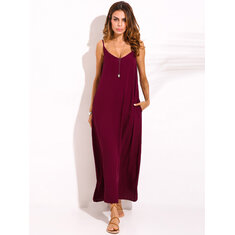 XS-5XL Women Boho Sexy Strap Backless V Neck Maxi Sundress