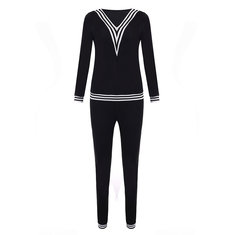 Sport Casual V Neck Stripe Patchwork Tracksuit