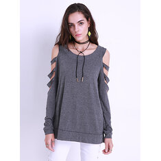 Sexy Women Off Shoulder Tops Loose Hollow Out Long Sleeve Shirts