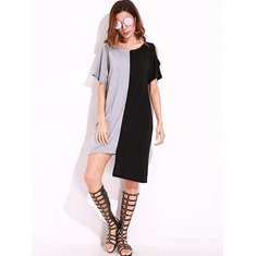 S-5XL Casual Women Short Sleeve Off Shoulder Asymmetric Dresses