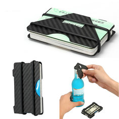RFID Blocking Slim Carbon Fiber Credit Card Holder Men Wallet Money Clip Case