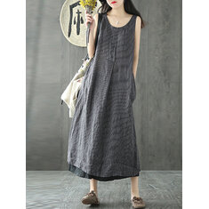Vintage Sleeveless Solid Color Mid-long Dress